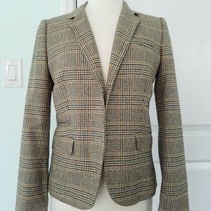 J Crew Collection Wool Glen Plaid Jacket  Brown 6